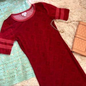 Lularoe Solid Red Unicorn Julia midi dress XS